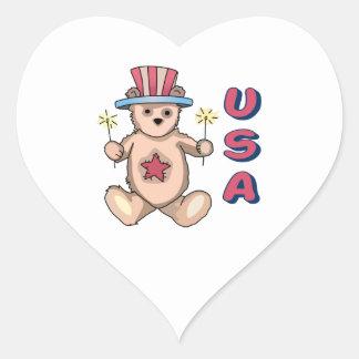 USA Teddy Bear Heart Stickers