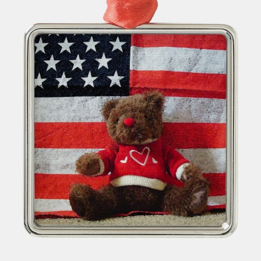 USA Teddy Teddy Bear with Stars and Stripes Flag Square Metal Christmas Ornament