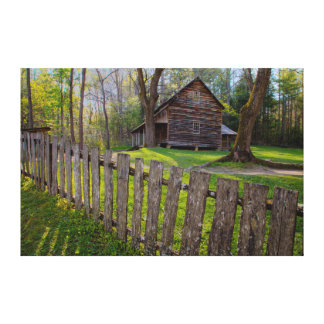 USA, Tennessee, Cabin In Cades Cove Canvas Print