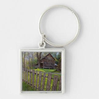 USA, Tennessee, Cabin In Cades Cove Silver-Colored Square Keychain