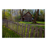 USA, Tennessee, Cabin In Cades Cove Poster