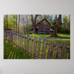 USA, Tennessee, Cabin In Cades Cove Print