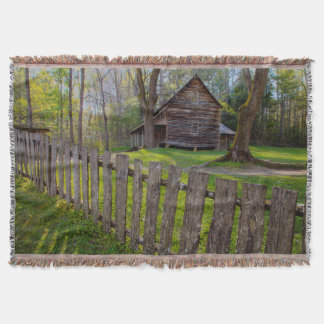 USA, Tennessee, Cabin In Cades Cove Throw Blanket