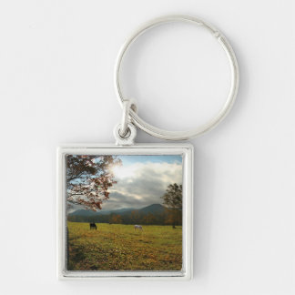 USA, Tennessee. Horses In Cades Cove Valley Silver-Colored Square Keychain