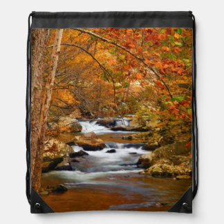 USA, Tennessee. Rushing Mountain Creek Drawstring Backpack