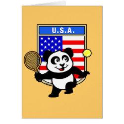 Greeting Card with USA Tennis Panda design