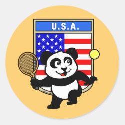Round Sticker with USA Tennis Panda design