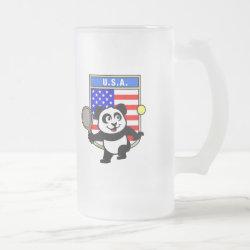 Frosted Glass Mug with USA Tennis Panda design