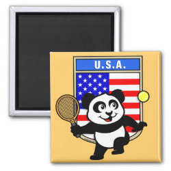 Square Magnet with USA Tennis Panda design