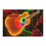 USA, Texas, Austin. Neon Guitar At Blackmail Canvas Print