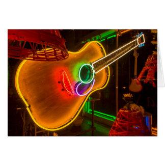 USA, Texas, Austin. Neon Guitar At Blackmail Card