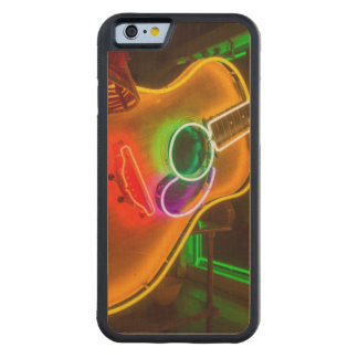 USA, Texas, Austin. Neon Guitar At Blackmail Carved® Maple iPhone 6 Bumper Case