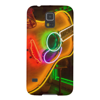 USA, Texas, Austin. Neon Guitar At Blackmail Case For Galaxy S5