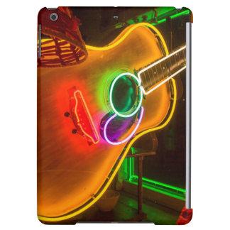 USA, Texas, Austin. Neon Guitar At Blackmail Case For iPad Air