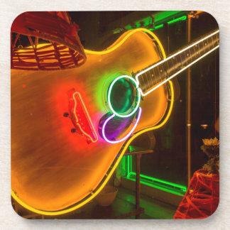USA, Texas, Austin. Neon Guitar At Blackmail Coaster