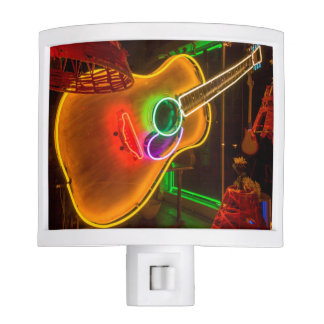 USA, Texas, Austin. Neon Guitar At Blackmail Nite Lites