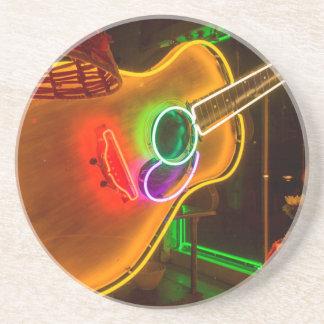 USA, Texas, Austin. Neon Guitar At Blackmail Drink Coaster
