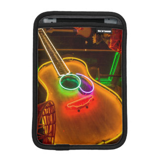 USA, Texas, Austin. Neon Guitar At Blackmail iPad Mini Sleeve