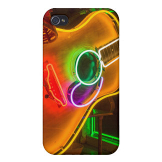 USA, Texas, Austin. Neon Guitar At Blackmail iPhone 4/4S Cases