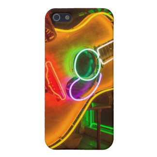 USA, Texas, Austin. Neon Guitar At Blackmail iPhone 5 Cover