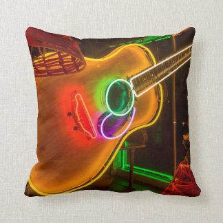 USA, Texas, Austin. Neon Guitar At Blackmail Throw Pillows
