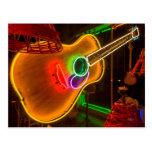 USA, Texas, Austin. Neon Guitar At Blackmail Postcard