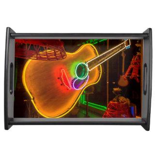 USA, Texas, Austin. Neon Guitar At Blackmail Serving Tray