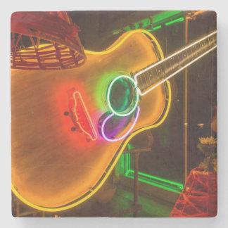 USA, Texas, Austin. Neon Guitar At Blackmail Stone Coaster