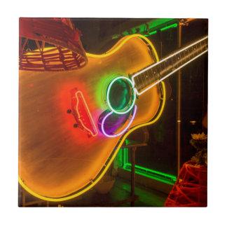 USA, Texas, Austin. Neon Guitar At Blackmail Tile