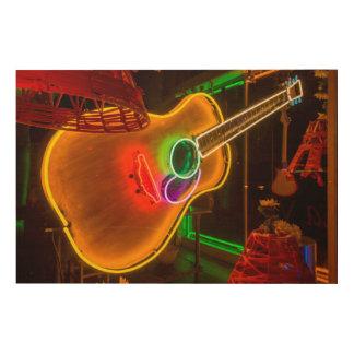 USA, Texas, Austin. Neon Guitar At Blackmail Wood Print