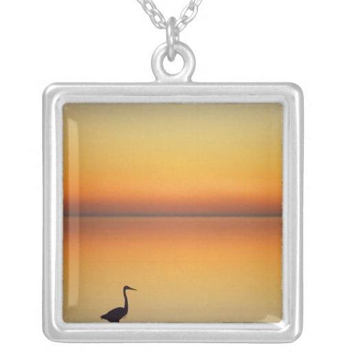 USA, Texas, Port Aransas, Great Blue Heron at Custom Necklace