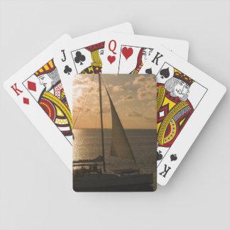 USA, Texas, South Padre Island. Sailboat Card Deck