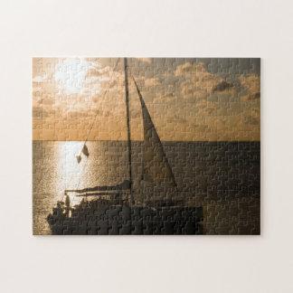 USA, Texas, South Padre Island. Sailboat Jigsaw Puzzle