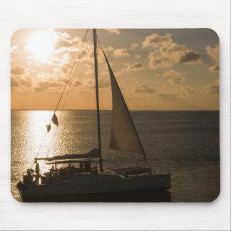 USA, Texas, South Padre Island. Sailboat Mouse Pad