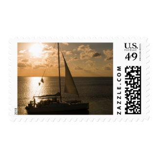 USA, Texas, South Padre Island. Sailboat Stamp