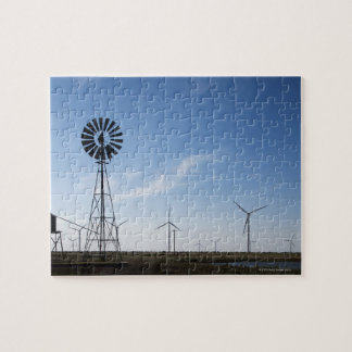 USA, Texas, Vega, Old ranch windmill and water Jigsaw Puzzle