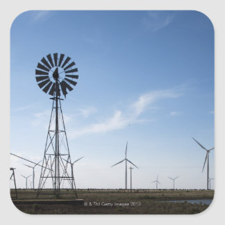 USA, Texas, Vega, Old ranch windmill and water Square Stickers