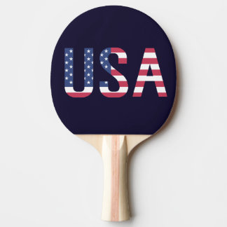 USA Text American Flag on Custom Navy Blue Sport Ping-Pong Paddle