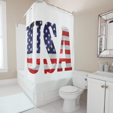 USA Themed USA text and flag Shower Curtain
