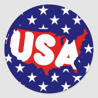 USA text and Map on Stars Classic Round Sticker