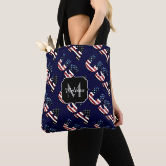 USA text flag blue red glitters sparkles Monogram Tote Bag