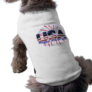 USA text flag glitters fireworks 4th of July dog Tee