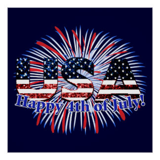 USA text flag glitters fireworks Happy 4th of July Poster