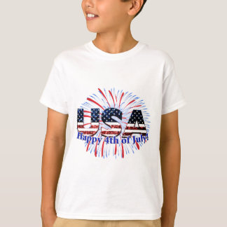 USA text flag glitters fireworks Happy 4th of July T-Shirt
