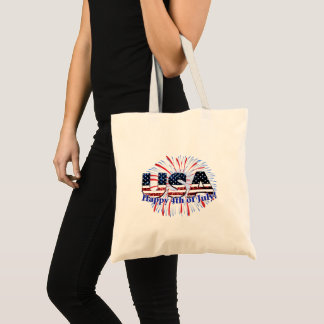 USA text flag glitters fireworks Happy 4th of July Tote Bag