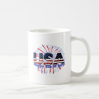 USA text flag in glitters Happy 4th of July Mug