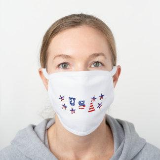 USA Text Stars & Stripes White Cotton Face Mask