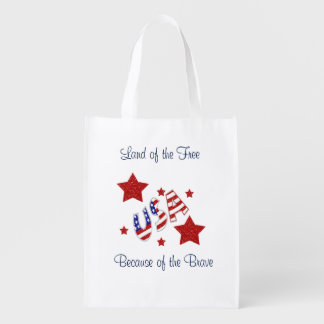 USA Thank You Veterans Land of Free Bc of Brave Grocery Bag