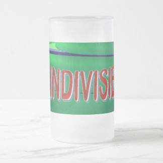USA THE INDIVISIBLES Red White Blue Green Frosted Glass Beer Mug