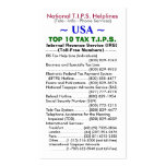 USA TOP 10 TAX T.I.P.S. Helplines Template Double-Sided Standard Business Cards (Pack Of 100)